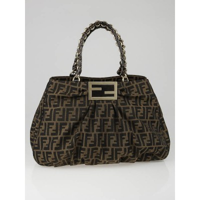 Fendi Tobacco Zucca Print Canvas Large Mia Shoulder Bag