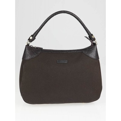 Gucci Brown Nylon and Guccissima Leather Trim Shoulder Bag