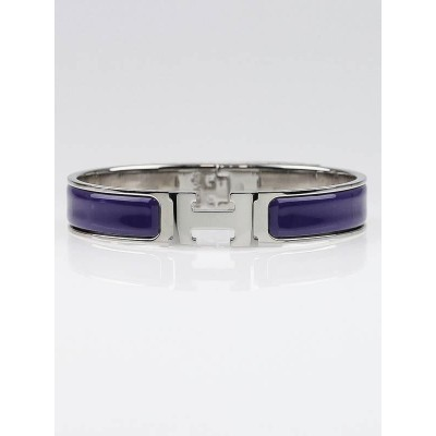 Hermes Purple Enamel Palladium Plated Clic H PM Narrow Bracelet