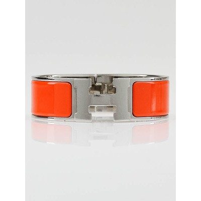 Hermes Orange Enamel Palladium Hardware Clic-Clac H GM Bracelet