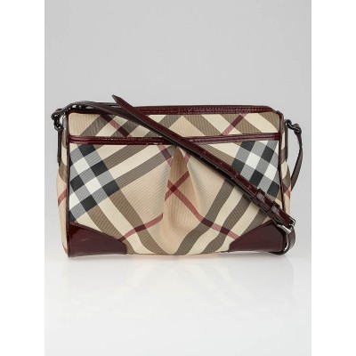 Burberry Berry Red Patent Leather Supernova Check Coated Canvas Crossbody Bag