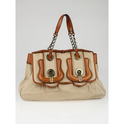 Fendi Beige Canvas and Leather Large B Bag
