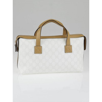 Gucci White GG Coated Canvas Small Satchel Bag