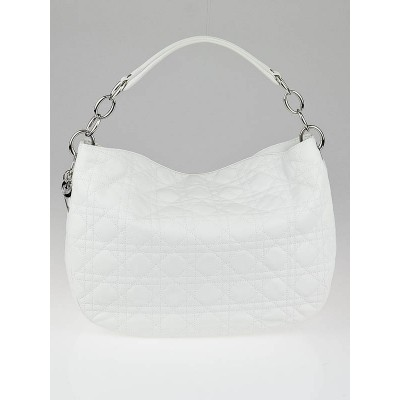 Christian Dior White Cannage Quilted Lambskin Dior Soft Medium Hobo Bag