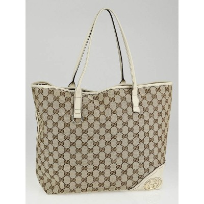 Gucci Beige/White GG Canvas Large Britt Tote Bag