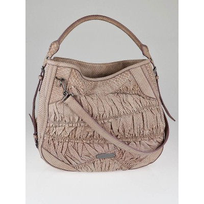 Burberry Pink Python Ruched Large Vallance Hobo Bag