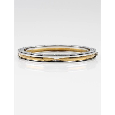 Bvlgari Stainless Steel and 18k Gold B.Zero1 Bangle Bracelet Size S