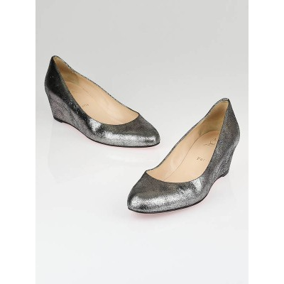 Christian Louboutin Silver Cracked Metallic Leather Wedges Size 10.5/41