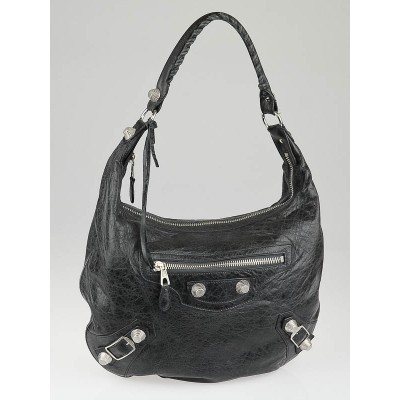 Balenciaga Black Chevre Leather Giant 21 Silver Hobo Bag