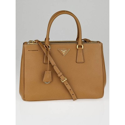 Prada Caramel Saffiano Lux Leather Double Zip Medium Tote Bag BN2274
