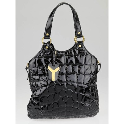 Yves Saint Laurent Black Patent Leather Croc Embossed Small Tribute Bag
