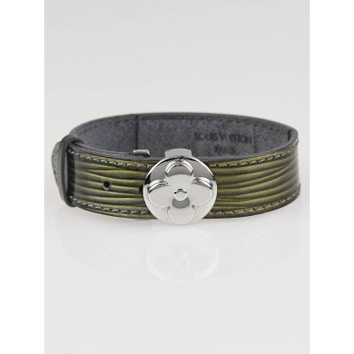 Louis Vuitton Metallic Grey Cyber Epi Leather Millennium Wish Bracelet