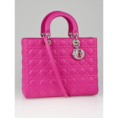 Christian Dior Rose Sorbet Cannage Quilted Lambskin Leather Large Lady Dior Bag