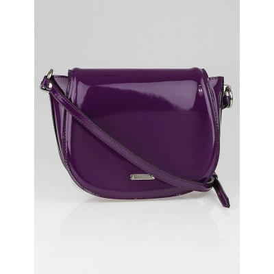 Burberry Beetroot Patent Leather Leigh Small Crossbody Bag