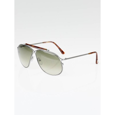 Tom Ford Silver Metal Frame Gradient Tint Magnus Aviator Sunglasses-TF193