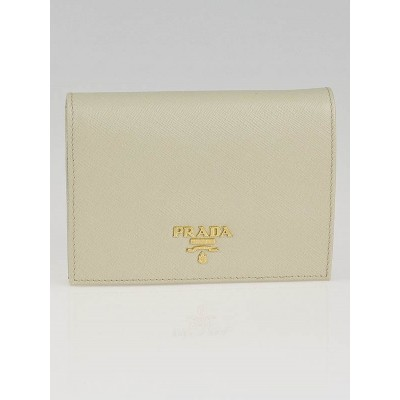 Prada Cera Saffiano Metal Leather Bi-Fold Wallet 1M0668