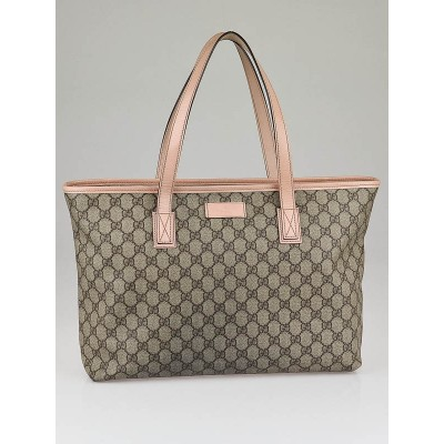 Gucci Beige/Pink GG Coated Canvas Medium Tote Bag