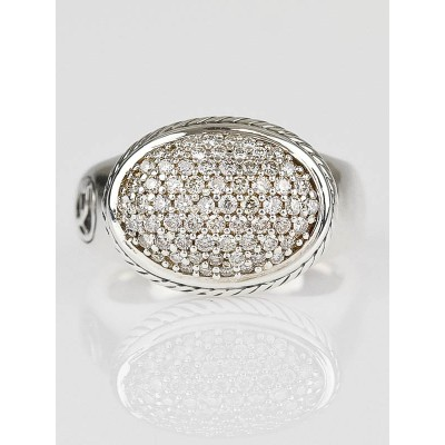 David Yurman 14x10 Oval Pave Diamond and Sterling Silver Ring Size 5.5