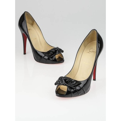 Christian Louboutin Black Patent Leather Madame Butterfly 120 Pumps Size 10.5/41