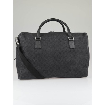 Gucci Black/Blue GG Denim Large Duffel Travel Bag