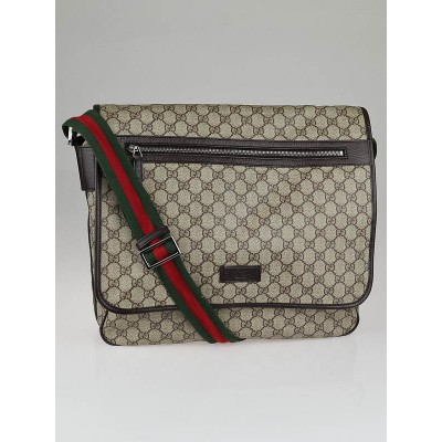 Gucci Beige/Ebony GG Canvas Vintage Web Messenger Bag