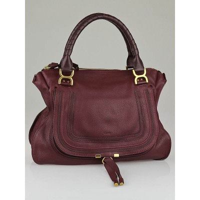 Chloe Burgundy Calfskin Leather Large Marcie Satchel Bag