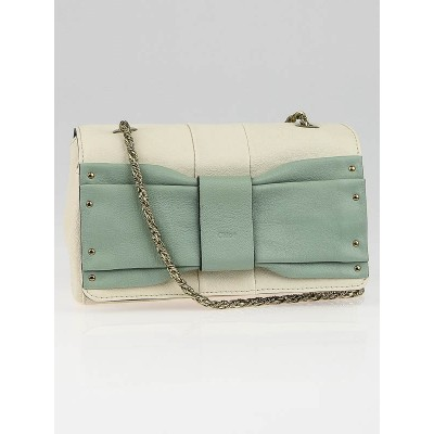 Chloe Husky White/Green Leather June Bow Small Shoulder Bag