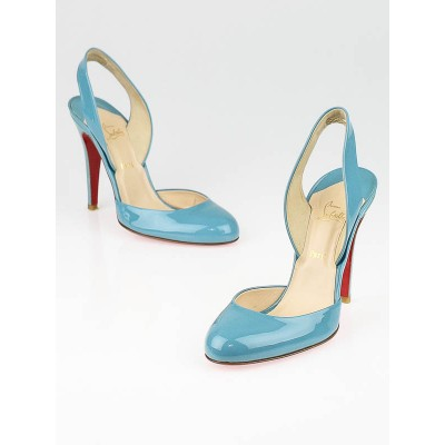Christian Louboutin Azzaro Patent Leather Picador 100 Slingback Pumps Size 6.5/37