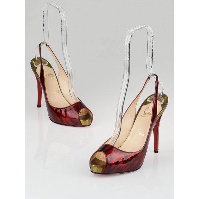 Christian Louboutin Burgundy Tortoise Patent Leather No Prive 120 Sling Pumps Size 9/39.5