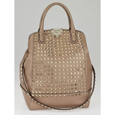 Valentino Beige Leather Rockstud All Over New Dome Tote Bag