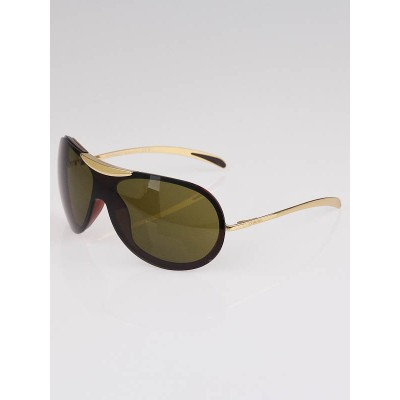 Chanel Gold/Brown Frame Brown Tint Aviator Sunglasses-6006