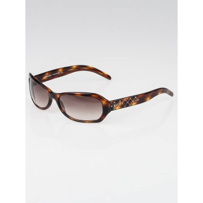 Chanel Tortoise Shell Crystal Quilted CC Sunglasses-5062-B