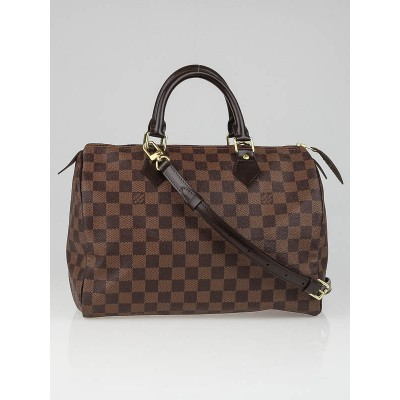 Louis Vuitton Damier Canvas Speedy 30 Bag w/ Long Strap