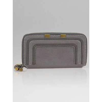 Chloe Cashmere Grey Leather Marcie Zip Wallet