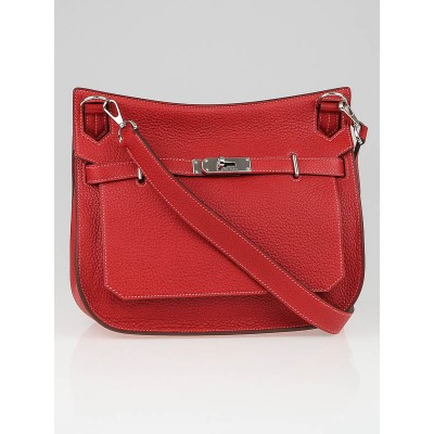 Hermes 28cm Rouge Casaque/Rose Jaipur Clemence Leather Palladium Plated Jypsiere Bag