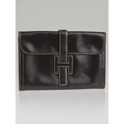 Hermes Chocolate Box Leather Jige PM Clutch Bag