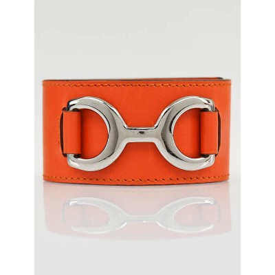 Hermes Orange H Swift Leather Pavane Cuff Bracelet