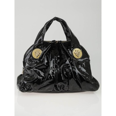 Gucci Black Patent Leather Hysteria Top Handle Tote Bag