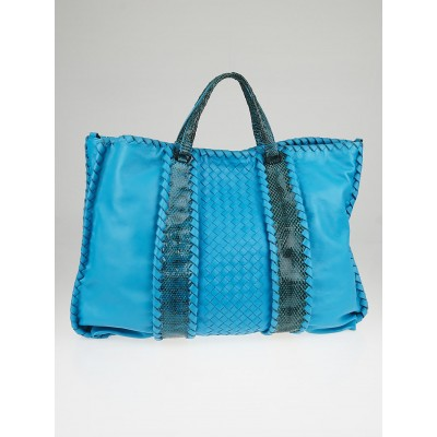 Bottega Veneta Turquoise Intrecciato Ayers/Nappa Leather Convertible Tote Bag