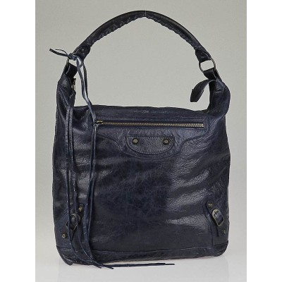 Balenciaga Marine Lambskin Leather Day Bag