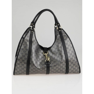 Gucci Navy Blue/Grey GG Crystal Canvas Joy Shoulder Bag
