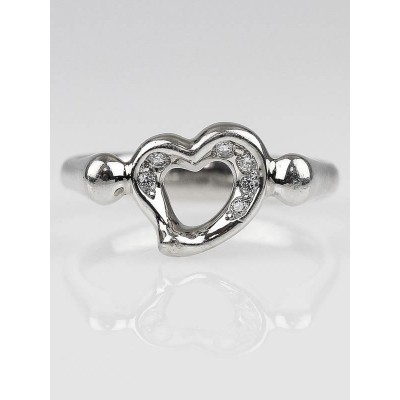 Tiffany & Co. Platinum and Diamond Elsa Peretti Open Heart Ring Size 5