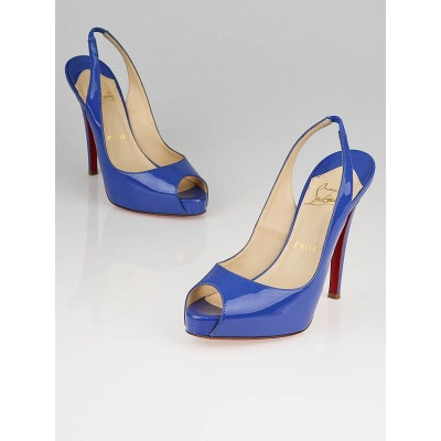 Christian Louboutin Blue Patent Leather No Prive 120 Slingback Heels Size 6.5/37