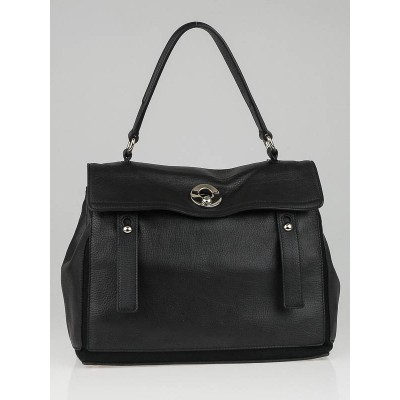 Yves Saint Laurent Black Leather/Canvas Medium Muse Two Bag
