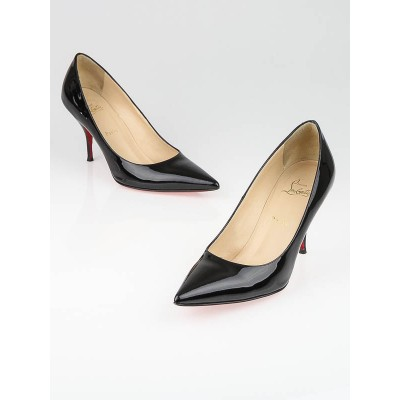 Christian Louboutin Black Patent Leather New Piaf 85 Pumps Size 10.5/41