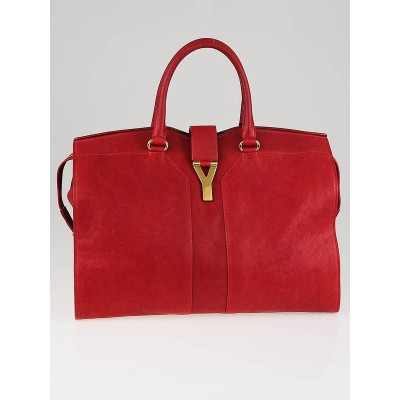 Yves Saint Laurent Red Leather Large Cabas ChYc Bag