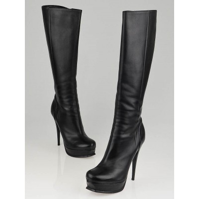 Yves Saint Laurent Black Leather Tribute 105 Tall Boots Size 10/40.5
