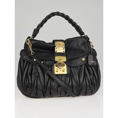Miu Miu Black Matelasse Nappa Leather Coffer Bag