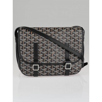 Goyard Black Chevron Print Coated Canvas Belvedere MM Bag