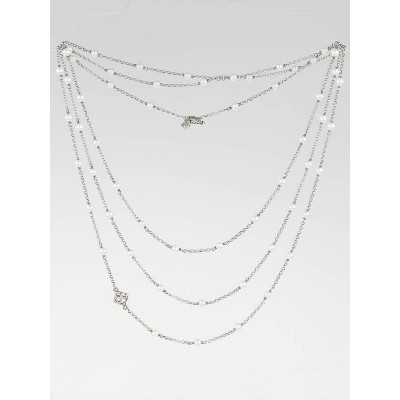 David Yurman Sterling Silver and Pearl Spinel Chain Necklace